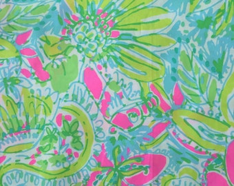 "multi coconut jungle poplin cotton fabric square 18""x18"" ~ lilly pulitzer"