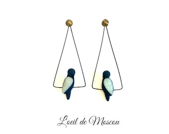 Designer earrings Dark Blue Bird on wire