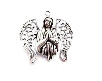 Charm silver plated pendant Cherub Angel, size 30mm