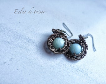 Earrings Mona wire weaving, amazonite gemstone