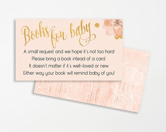 Baby Shower Invitation Insert Printable | Books Instead of Cards | Build a Library Invite | Books for Baby | INSTANT DOWNLOAD | Pink & Gold