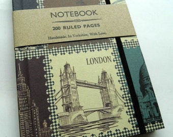 Handmade notebook London Moscow travel 200 ruled pages with elastic A6
