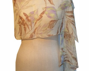 100% Silk printed chiffon scarf with Autumn leaves design.