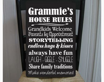 Grammie's House Rules for Grandchildren with love Grandmother  Handpainted Wood Sign 16 x 10.5