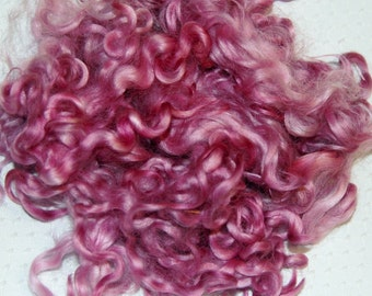 Cotswold Wool Locks, Locks for Spinning, Felting Fiber, Nuno Felting, Doll Hair, Doll Wigs, Hand Dyed, in Shades of Dusty Rose, Pink 1 oz.