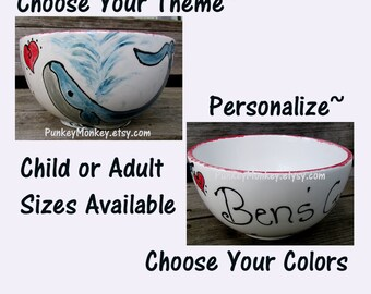 Personalized custom bowl custom ice cream bowl custom popcorn bowl custom snack bowl custom cereal bowl custom chowder soup bowl salad bowl