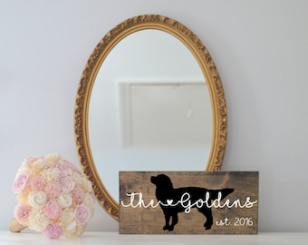Last Name Wood Sign with Golden Retriever Silhouette, Wedding Signs, Last Name, Wedding Gift, Dog Wedding Gift, Anniversary, Entryway
