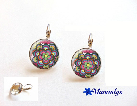 Earrings multicolored flowers earrings colorful, 3435 glass cabochons
