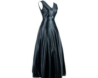 1970s Black Floor Length Gown