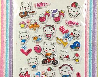 Kawaii sticker sheet - kawaii puffy sticker sheet ***** missing stickers *****