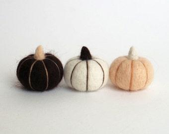 Fall pumpkins, Needle felted miniature pumpkin (set of 3) -  vanilla, white, dark brown, Autumn decor, cottage chic