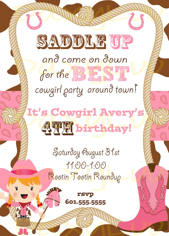 Cowgirl birthday party invitation pink and brown stopboris Gallery
