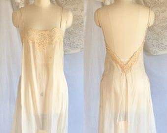Vintage 1920's Step in Chemise Slip   Ivory Silk & Ecru Lace   Edwardian Camiknickers   Monogram   Size M/LG