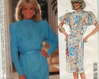 1980s McCalls 2369 Dynasty Misses Dress Vintage Sewing Pattern Linda Evans Nolan Miller Flutter Sleeves Size 12  Bust 34 UNCUT