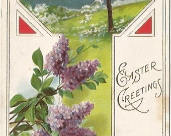 Purple Lilacs and White Apple Blossoms Springtime EASTER Greeting Vintage Postcard