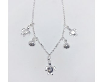 Sterling silver 925 turtle and shell necklace