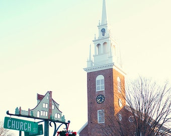 Church photography, Church Street and Main, winter holiday, Old Wethersfield CT, red brick church,  new england church, home decor
