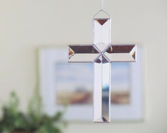 Glass Cross Suncatcher, Clear Beveled Stained Glass Cross, Easter Gift Idea