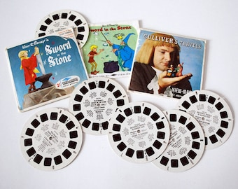 Sawyer ViewMaster Reels, Disney Slide Reels Discs, Gulliver's Travels, Sword in the Stone, 1960s Collectible Toy, Cartoon Movie Slides