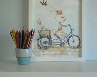 Lucy the Bunny 11 X 14 in.textured paper Nursery print. Children room decor.  Bike picture.Illustration. Bunny toy. Baby Shower gift