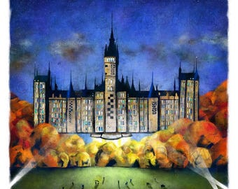The University of Glasgow, and Beyond! Large Giclee print.