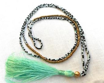 Bohemian Necklace, Mint Tassel Necklace, Long Tassel Necklace, Tribal Necklace, Beaded Necklace, Seed bead necklace, Mint tassel