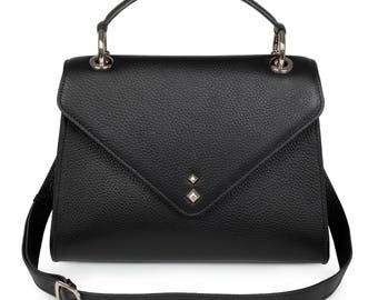 Leather Top Handle Bag, Black Leather Handbag Top Handle, Women's Leather Bag KF-1254