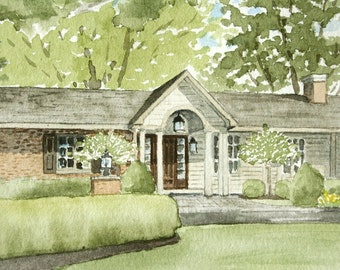 Custom watercolor of home, cottage, business, B and B