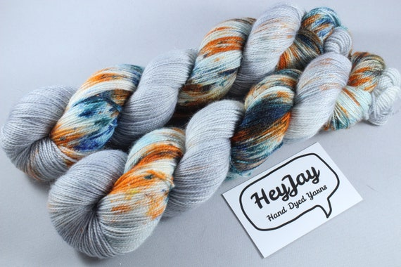 Hand Dyed Sparkle Merino Sock Yarn - White Dwarf