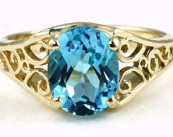 Swiss Blue Topaz, 18KY Gold Ring R005