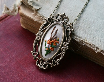 California Wildflowers- hand embroidered necklace, fall, orange, needlework, floral, flowers, brown