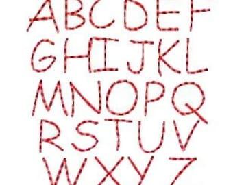 Redwork Alphabet Machine Embroidery Designs