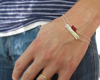 Silver initial bar bracelet, initial bracelet, birthstone bracelet, sterling silver layered bracelet set, hammered bar, sideways initial