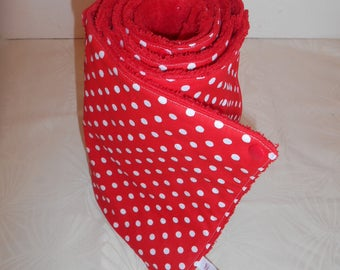 The paper towel washable 100% cotton red with white dots