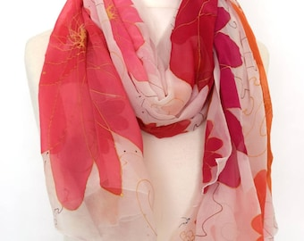 Large pink floral bright scarf - chiffon floral silk scarf - everyday scarves