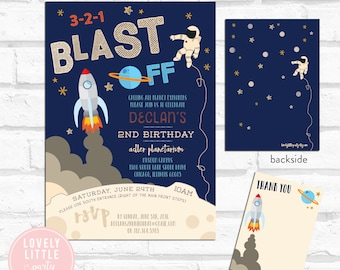 DIY Printable or Printed Space/Rocket Ship Birthday Invitation Kit - Invite AND Thank You Card included