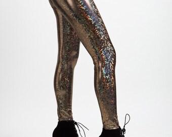 Gold On Black Holographic Liquid Leggings