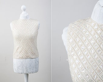 Vintage Woolen Knitted and Beaded Ivory Sleeveless Woman Blouse / US Size 6-8 / 60s Fashion / All Sequins Top / Wedding Separates