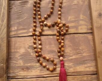 Jasper Mala Necklace / I Am Grounded Mala / Mala Beads 108 / Hand Knotted Mala / Gemstone Necklace / Gemstone Bracelet