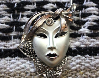 Vintage Silver Theater Mask Face Brooch With Rhinestone