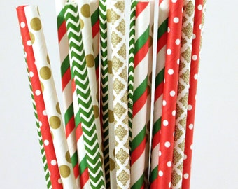 Christmas Paper Straw Mix-Red Straws-Green Straws-Gold Straws-Polka Dot Straws-Striped Straws-Chevron Straws-Damask Straws-Party Straws