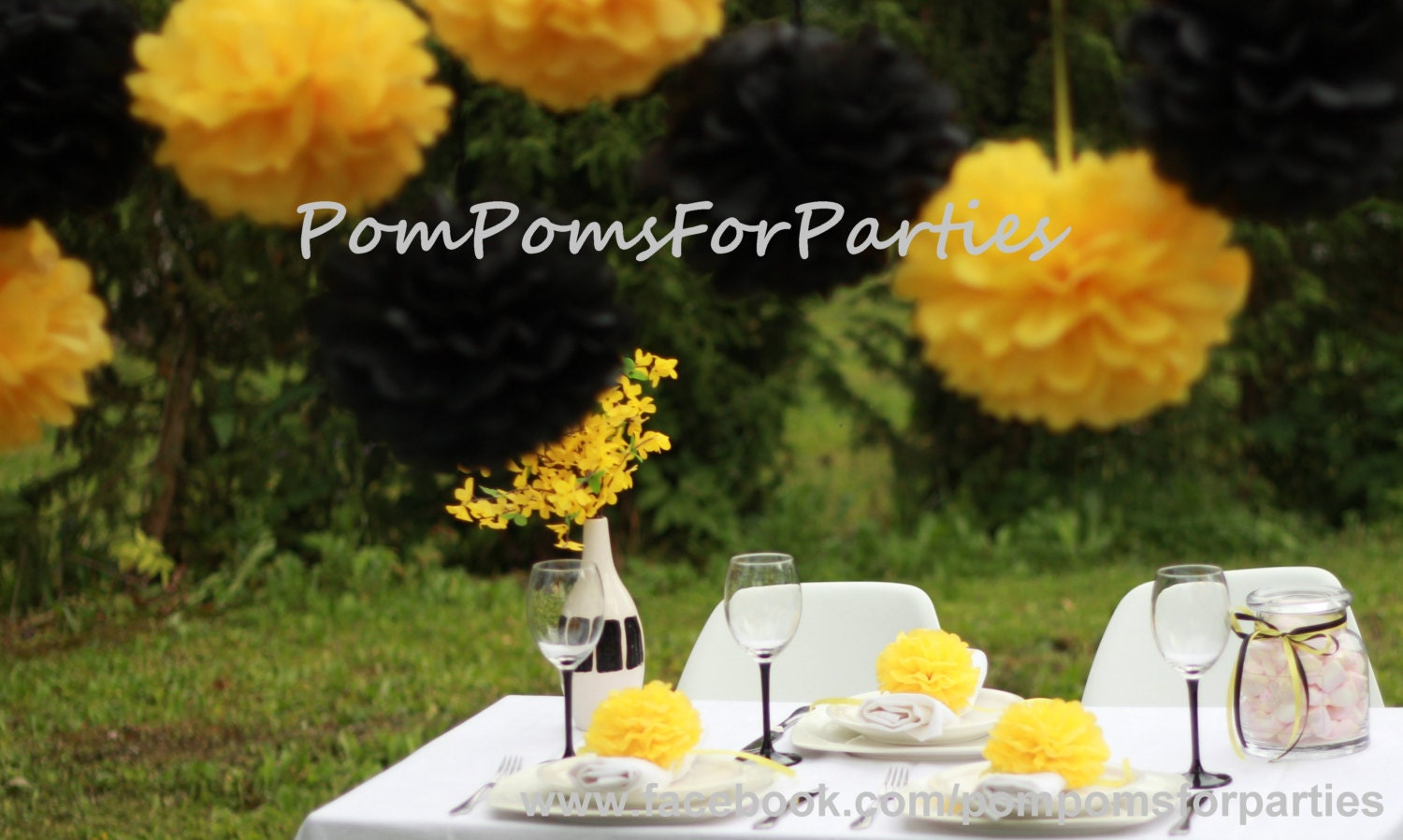6 Large Size Pompoms Yellowblack Collection Hanging Paper