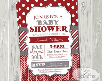 Red and Grey Invitation | Bridal Shower, Baby Shower, Couples Shower, Shabby Chic, Herringbone, Polka Dots | INSTANT DOWNLOAD