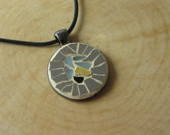 Mosaic Gray Pendant 1 inch, Mosaic Accessories, Mosaic Art Jewelry, Statement Jewelry, Boho, Bohemian Ethnic Mediterranean Pendant