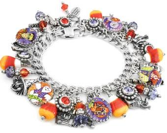 Halloween Jewelry - Corn Candy Bracelet - Silver Halloween Bracelet