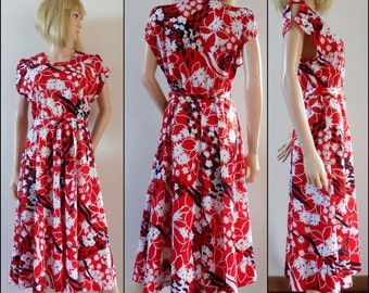 Vintage red white French dress French summer polyester midi dress size S/M
