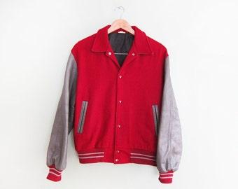 vintage jacket / letterman jacket / 1980s burgundy and grey varsity jacket Medium