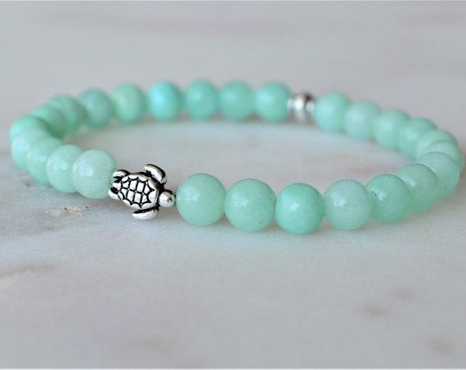 Blue aqua dyed quartzite bracelet, Summer bracelet, Turtle jewellery, Calming bracelet, Gemstone jewellery, Birthday gift for her, Yoga gift