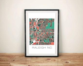 Raleigh NC, Raleigh Map, Raleigh Art, Map Print, Raleigh Print, Art, Home Decor, City Map, Perfect Gift Idea, Map Art, Grad Gift