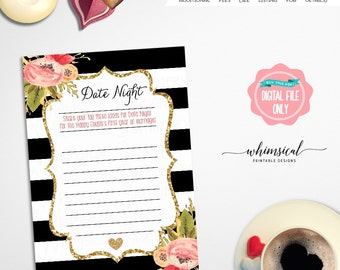 "Bridal Shower Game Date Night ""Black and White, Florals"" (Printable File Only) Shower Game Digital Ooh La La Beach Bride Summer Water"